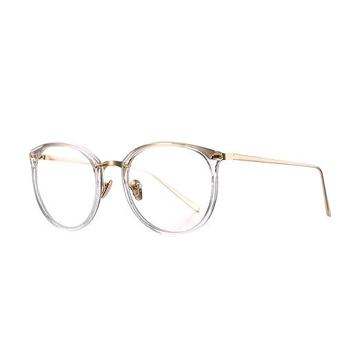 9174b4d2b8 AZORB Womens Vitage Round Eyeglasses Non-Prescription Glasses Frame  (Transparent)