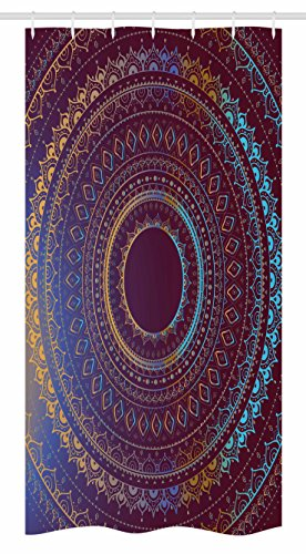 - Ambesonne Mandala Stall Shower Curtain, Ethnic Symbol of Cosmos Floral Ombre Details, Fabric Bathroom Decor Set with Hooks, 36 W x 72 L inches, Plum Sky Blue and Apricot
