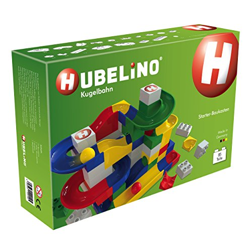 HUBELINO Marble Run - 85-Piece Starter Set - the Original! Made in Germany! - Certified and Award-Winning Marble Run - 100% compatible with Duplo