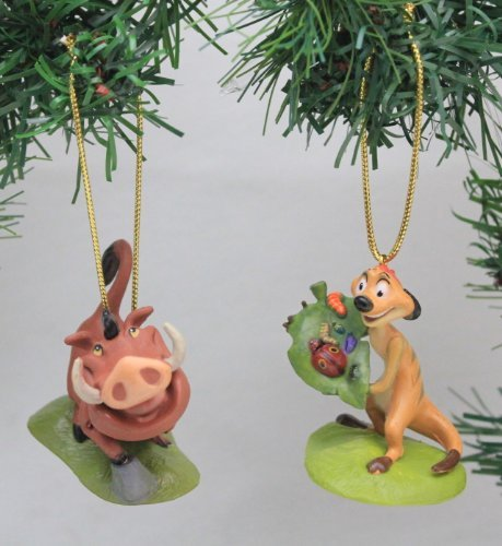 (Disney's The Lion King 'Timon & Pumba' Holiday Ornament Set- (2) PVC Figure Ornaments Included - Limited Availability )