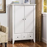 Wooden Wardrobe Armoire Brushed Metal Finish Hardware Two Adjustable Shelves Behind Doors