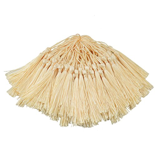 100pcs 13cm/5 Inch Silky Floss Bookmark Tassels with 2-Inch Cord Loop and Small Chinese Knot for Jewelry Making, Souvenir, Bookmarks, DIY Craft Accessory (Cream)