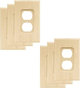 Franklin Brass W10397V-UN-R Wood Square Single Duplex Outlet Wall Plate/Switch Plate/Cover (6 Pack), Unfinished Wood