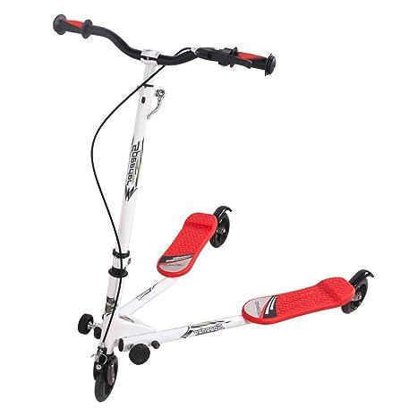HOMCOM Kids 3 Wheels Foldable Speeder Push Scooter Tri Slider Pink Large Type for Age 6+