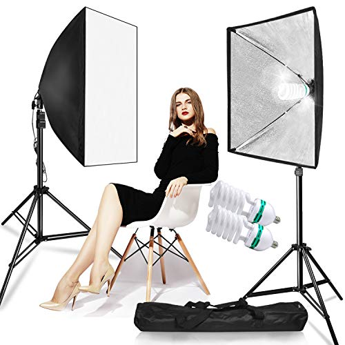 LimoStudio 700W Photo Video Studio Soft Box Lighting Kit, 24 x 24 Inch Dimension Softbox Light Reflector with Photo Bulb, Photography Studio, AGG814