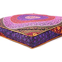 EXCLUSIVE Indian Square Urban Mandala Design Floor Pillow Cover Ottoman Pouf Cushion Case Hippie Meditation Throw Outddor Bed Dog / Pets Bed