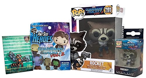 Guardians of the Galaxy – Flying Rocket Bobble-head Pop, Keychain, One Pint Size Hero Mystery Toy Figure by Funko Bundled w/ GOTG Comic book Rocket Magnet