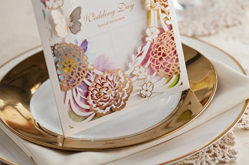 100x Wishmade CW065 Colorful Flower Wedding Invitations Cards DHL shipping by wishmade (Image #3)