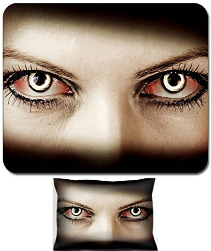 Liili Mouse Wrist Rest and Small Mousepad Set, 2pc Wrist Support IMAGE ID: 18733912 Evil bloody female zombie eyes dirt make up Macro Halloween theme -