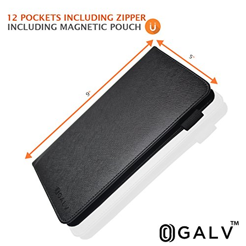 Waitress Waiter Server Book Organizer with Zipper Pocket Wallet for Waitstaff Black 5x9 and 12 Money Pockets with Pen Holder Fits Restaurant Guest Check Order Pad & Apron By Ogalv by Ogalv (Image #4)