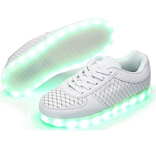 Ah1k23 Donna Ad Alta Cima Usb Ricarica Scarpe Led Lampeggiante Sneakers Bianco
