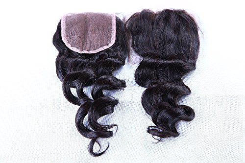 """Price comparison product image Freyja Hair Brazilian Virgin Hair Human Hair Closure With Baby Hair Loose Deep Wave Top Lace Closure Part 8-20"""" Naturl Black Bleached Knots (8"""")"""