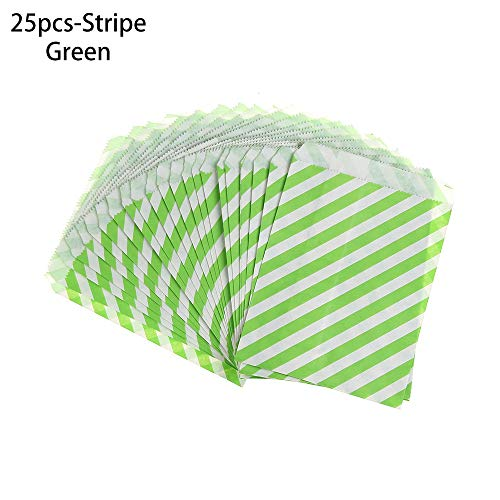 szxbogs 25pcs 5x7inch Party Decoration Candy Gifts Food Popcorn Printed Treat Striped Dot Wavy Wrapper Bag Kraft Paper Packing Pouch(25pcs-Stripe,green)