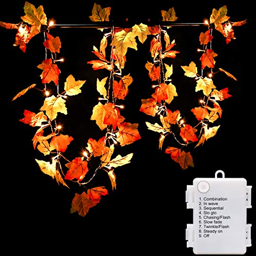 Thanksgiving Outdoor Decorations Lighted (Luditek 14.7ft Thanksgiving Decorations Autumn Garland - Thanksgiving Decor Fall Garland Lights with 40 LED - 8 Blinking Modes)