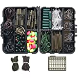 Carp Fishing Accessories Kit with Swivels/Hooks/Sleeves/RubbersTubes/Lead Clips/Beads/Hair Rigs/Hair Extender Stoppers Set