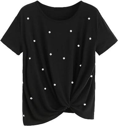 SEWORLD Camiseta de Perlas con Cuentas de Manga Corta para Mujer: Amazon.es: Ropa y accesorios