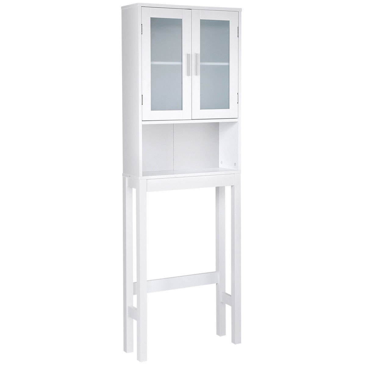 Bathroom Over The Toilet Storage Wooden Cabinet Spacesaver Organizer Tower Rack