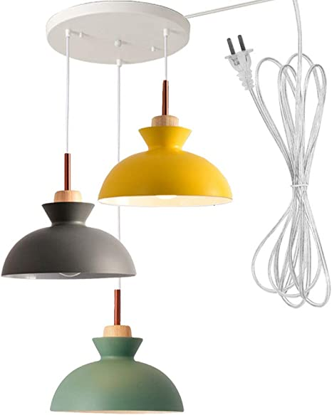 Stglighting No Drilling 3 Lights Macaron Swag Pendant Light With 15ft Plug In Ul Cord Island Chandelier Pendant Lighting Fixtures Hanging Ceiling Light For Kitchen Island Staircase No Wiring Needed Amazon Com