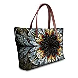 Showudesigns Vintage Flower Printing Women's Tote Purse Hand Bag with Pocket