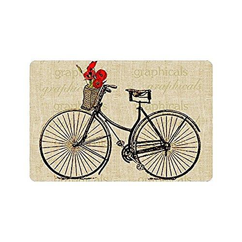 homelover(TM) Non Slip Entryways Vintage Bicycle Bike with Flowers Picture Rectangle Indoor/Outdoor Rectangle Floor Mat Doormat Kitchen Decor Floor Mats Rugs 23.6 X 15.7 Inches