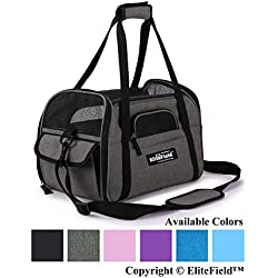 "EliteField Soft Sided Pet Carrier (3 Year Warranty, Airline Approved), Multiple Sizes and Colors Available (Medium: 17"" L x 9"" W x 12"" H, Charcoal Gray)"