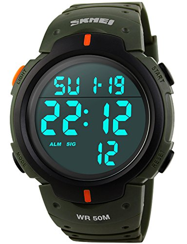 (PASOY Men Women Digital Watch Big Dial Light LED Swim Waterproof Rubber Band Alarm Black LED Watches 50MM (Green))