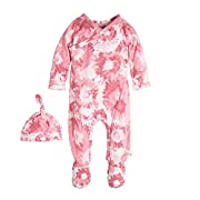Burt's Bees Baby Baby Footed Coverall and Hat Set, Water Lily Splatter Watercolor, 0-3 Months