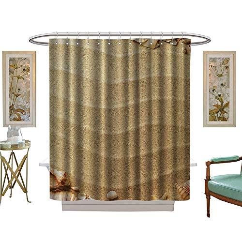 TextileLIHome Shower Curtains Mildew Resistant Seascape Coastal XLG ige Tan Sand Satin Fabric Bathroom Washable