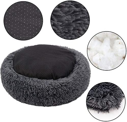 Legendog Cat Bed for Indoor Cats, Warm Cute Pet Bed for Kittens Puppies, Round Faux Fur Cat Puppy Bed, Anti-Slip Cat Cushion Bed with Soft Pet Blanket