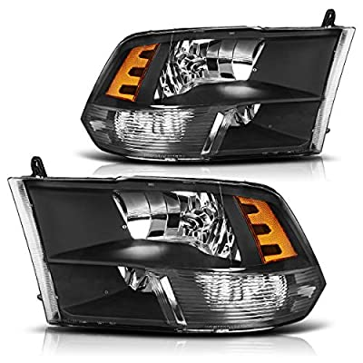 AUTOSAVER88 Headlight Assembly Compatible with 09-18 Dodge Ram 1500 2500 3500 Pickup QUAD Replacement Headlamp,Black Housing with Daytime Running Lamps: Automotive