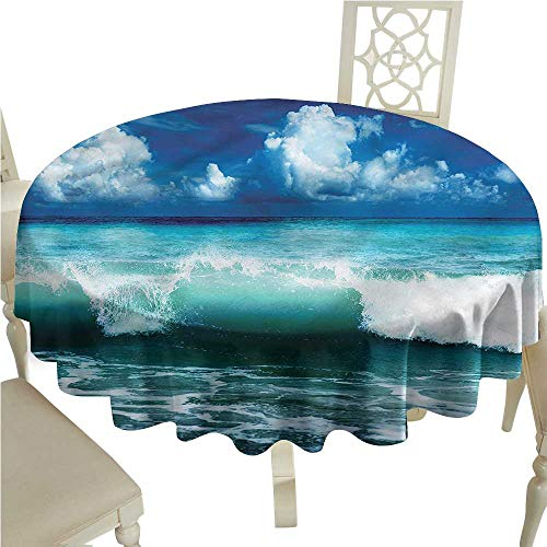 Wave Bistro Table - Personalized Tablecloths Ocean,Caribbean Seascape Waves,for Bistro Table