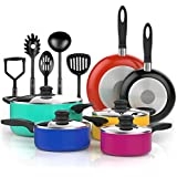 Vremi 15 Piece Nonstick Color Pop Cookware Set; 4 Pots with 4 Lids, 2 Pans and 5 Kitchen Utensils; Cool Touch Handles, Oven Safe, PTFE and PFOA-Free