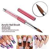 Makartt #10 Acrylic Nail Brush Acrylic Powder Manicure UV Gel Carving Pen Brush Liquid Powder DIY Nails Pink Rhinestone Handle Konlinsky Sable Fiber Hair Nail Tool