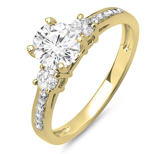 Dazzlingrock Collection 14K Round Moissanite & White Diamond Ladies Bridal 3 Stone Engagement Ring, Yellow Gold, Size 7 ()