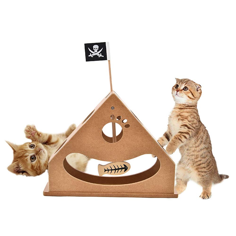 Ultimate Cat Scratcher Toy Interactive Scratch Pad Pirate Boat Fish Pendulum Cardboard Triangle Structure Chase Hunting Funny Toys for All Cats