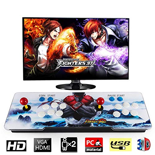 Happybuy 1500 Classic Arcade Game Machine 2 Players Pandoras Box 9s 1280x720 Full HD Video Game Console with Arcade Joystick Support HDMI VGA Output (White&Blue) ()