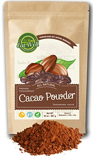 Cacao Powder | 32 oz (2 lb) Reseable Bag | Criolla Beans | Unsweetened Cocoa | Gluten Free |% 100 Natural | by Eat Well Premium Foods - Organic Peanut Flour