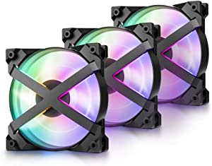 DEEP COOL MF120GT 3x120mm PWM Case Fans Radiator Fans, Motherboard Control and Wired Controller Supported, 5V 3-pin Addressable RGB