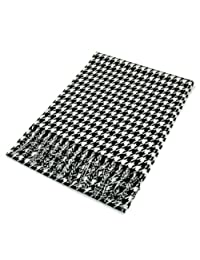 Classic Premium Unisex Houndstooth Winter Fringe Scarf - Different Colors Available, Black & White