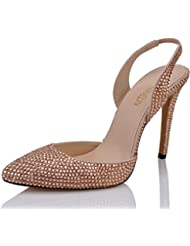 SHOELIN High Heels Sandals, Sparkly Rhinestone Heels Handmade Pointy Toe Stiletto Slingback Evening Dress Pump