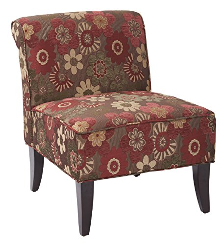 (AVE SIX Naomi Upholstered Accent Chair with Solid Espresso Finish Wood Legs, Merlot Fabric)
