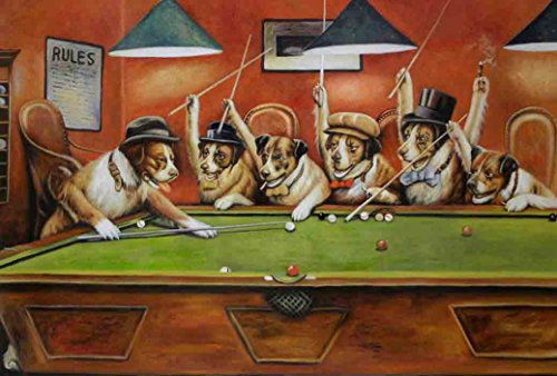 Reproduction of Vintage Classic Dogs Playing Billiards Poste