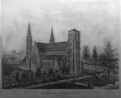 Photo: St. Josephs Catholic Church,Albany,N.Y.,c 1879,religious,trees,black and white (Ny Tree Christmas Albany)