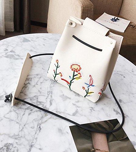Gift Floral Bag Shoulder Girls Bag Women Retro LMMVP by Simple Crossbody Boho Bag White Bucket wUXwqBP