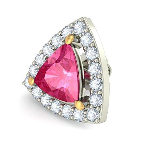 14K Or blanc 0,43CT TW Round-cut-diamond (IJ | SI) et tourmaline rose Boucles d'oreille à tige