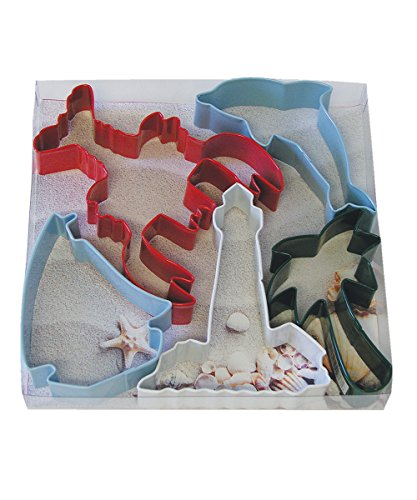- R&M International 1960 Beach Cookie Cutters, Lobster, Dolphin, Sailboat, Lighthouse, Palm Tree, 5-Piece Set