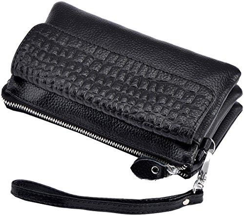 Wrist Heshe body Handbags Womens Clutches Black Ladies Satchel Pocket Shoulder for Bags let Genuine Leather Bag Cross rXUSr