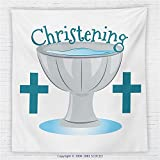 59 x 59 Inches Baptism Decorations Fleece Throw Blanket Commemorate a First Holy Communion Children Birth Celebration Font Water Art Blanket