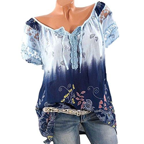 Ketamyy Rond Chemisier Impression Col Courte Bleu Lace Mode Blouse Lache Shirt Femme Casual Manche La Clair T rWrFfR