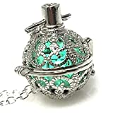 UMBRELLALABORATORY Steampunk FIRE Necklace - Pendant Glow Locket - Great Gifts for Teen Girls, Mother, Father, Little Girls Jewelry-Silver Teal
